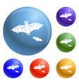 flying bat icons set vector image vector image