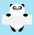 Funny panda bear hanging on paper board template