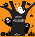 ghost pumpkin spider monster candle owl eye vector image