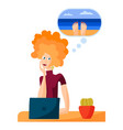 girl in office dreams vacationing at vector image vector image