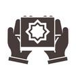 hands with koran ramadan arabic islamic vector image