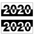 happy new year 2020 monochrome black and white vector image