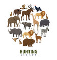 hunting season poster of wild animals vector image vector image