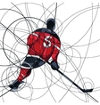 Ice hockey player in red and black dress vector image vector image