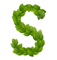 Letter S of green leaves alphabet vector image vector image