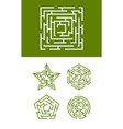 maze collection round square and star forms vector image