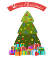 merry christmas poster decoated tree and presents vector image vector image