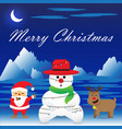 merry christmas - snowman is bound by christmas vector image vector image