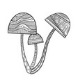 mushroom with patterned black and white vector image vector image