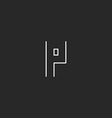 P logo letter monogram minimalistic thun line