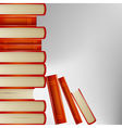 pile of books in an orange cover on gray vector image