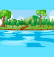 scene with river and hills vector image vector image