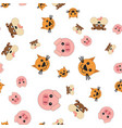 seamless pattern of pig and dog cat heads vector image