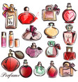 set of different perfumes elegant style vector image vector image
