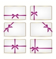 Set of gift cards with ribbons vector image vector image