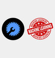 settings gear icon and scratched machine vector image vector image