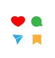 social media icons color set vector image vector image
