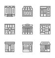 Store and cafe fronts flat line icons