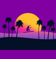 summer background with a surfer and palm trees on vector image vector image