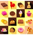 Sweets chocolate and cakes icons set flat style vector image vector image