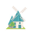 traditional windmill building ecological vector image vector image
