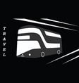 travel passenger bus - black - white background vector image