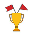 trophy award cup with flags isolated icon vector image vector image