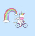 unicorn on a bicycle vector image vector image