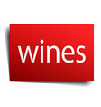 wines red square isolated paper sign on white vector image vector image