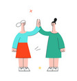 women giving high five with colleagues vector image vector image