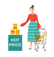 young woman doing shopping and choosing products vector image