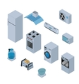 Household appliances isometric icons set with vector image
