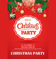 merry christmas party and gift box on red vector image