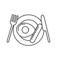 menu restaurant fried egg with sausage fork and vector image