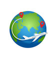 airplane fly around planet earth logo vector image vector image