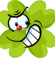 angry green cloverleaf - funny isolated on w vector image vector image