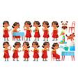 arab muslim girl kindergarten kid poses set vector image vector image