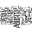art work and your health text word cloud concept vector image vector image