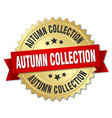 autumn collection 3d gold badge with red ribbon vector image vector image