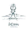 bitcoin earnings a man drawn vector image