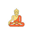 buddha linear style buddhist statue meditation vector image
