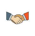 business handshake icon color line outline sign vector image vector image
