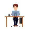 business man entrepreneur working on a laptop vector image