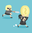 Business Woman Cartoons concepts Thief stealing vector image vector image