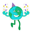 cartoon character happy earth vector image vector image
