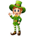 cartoon girl leprechaun waving hand vector image vector image