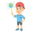 caucasian boy holding a placard with planet vector image