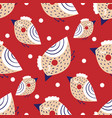 christmas seamless pattern with images birds vector image vector image