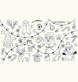 christmas set of hand drawn doodles vector image