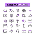 Cinema symbols outlined icons set vector image vector image